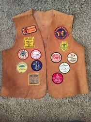 Vintage 1976-78 Ymca Indian Guides Vest, 13 Patches, Apache On The Back