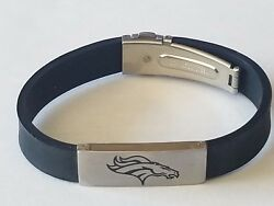 Nfl Denver Broncos Stainless Steel And Rubber Logo Id Bracelet Jewelry New