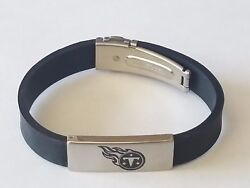 Nfl Tennessee Titans Stainless Steel And Rubber Logo Id Bracelet Jewelry