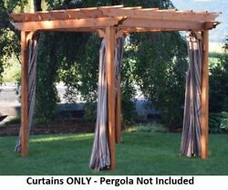 Aandl Furniture Co. Weather-resistant Acrylic Pergola Curtains, Hooks Included
