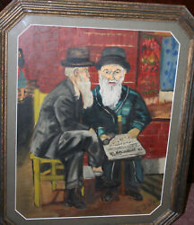 Judaica Painting Oil On Canvas Old Jews Reading The Forward Signed R Gebiner
