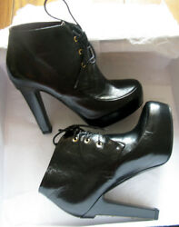 NEW CHANEL 13A Black Leather Lace Up Metal Logo Heel Platform Ankle Boot Shoes $