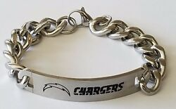 Nfl Los Angeles Chargers Stainless Steel Logo Id Bracelet Jewelry New