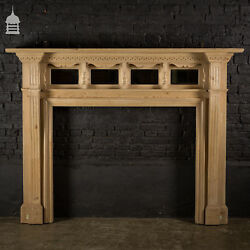 Large Edwardian Pine Fire Surround With Turned Detail And Mirrored Back