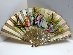 Signed Antique French Hand Painted Silk Fan With Etched Mother Of Pearl