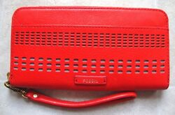 New Fossil Women Julia Rfid Leather Wristlet Clutch Variety Colors