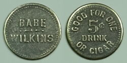 Historical Shootings-babe Wilkins 5c Saloon Token Rushville-rush Co.-indiana In