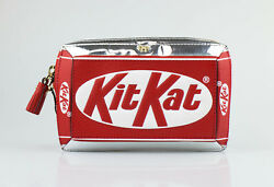 NWT ANYA HINDMARCH SilverRed Leather Kit Kat Clutch Bag $1295