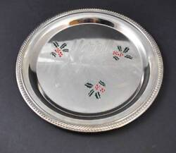 Vintage International Silver Plated Tray Plate Christmas Holly Berries 12 Y23