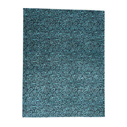 9and0394x12and0393 Teal Blue Hand-knotted Paisley Design Dense Weave Art Silk Rug R33786