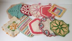 Vintage Hot Pads, Potholders, Hand Crocheted Floral, Round, Square, Lot Of 10