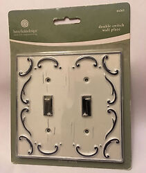 Antique Distressed White Wash Scroll Double Light Switch WallPlate Cover