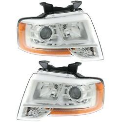 Headlight Set For 2015-2017 Ford Expedition Left And Right With Bulb 2pc