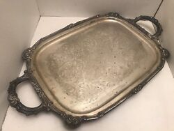 Vintage English Silver Mfg Corp Silver Plate Footed Serving Plate, Made In Usa