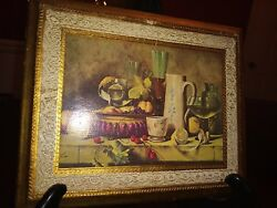 Florentine Wall Plaque Basket Of Fruit Glass Of Wine 9x11 Vintage Italy