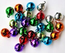25 Shiny Lacquered Jingle Bells Bright Color Mix 12mm 1/2 Round + Top Loop