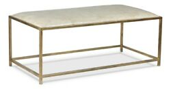 48 L Leather Bench Table Antique Vellum Finished Leather Modern Brass Iron Base