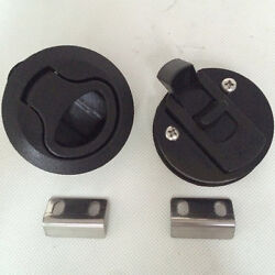 2pcs Black Plastic Boat Deck Hatch 1/2and039and039 Door 2and039and039 Flush Pull Slam Latch For Sale