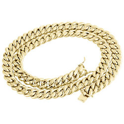 Mens 10k Yellow Gold Hollow Miami Cuban Link Chain 12mm Box Clasp 20-30 Inches