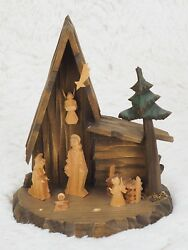 Vintage Germany Carved Wood Christmas Creche Nativity Manger Scene 6.6 Tall