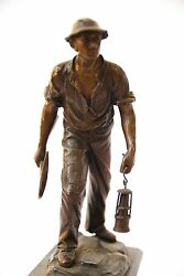 A Beautiful Bronze Statue Of A German Coal Miner Holding Mining Lamp Antique Old