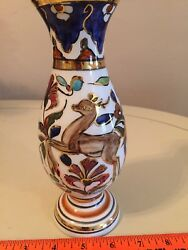 Vintage Ceramic Vase Rhodes Lindos Tringatzis Hand Made And Painted In Greece