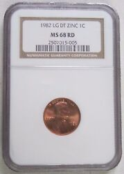1982 Lincoln Memorial Cent/penny - Zinc - Large Date - Ngc Ms 68 Rd 5-005