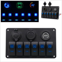 12V24V 6-Gang Car Marine LED Rocker Switch Panel Circuit Breaker USB