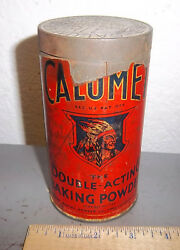 Vintage Calumet Baking Powder 1 Pound Tin, Great Colors And Graphics, Paper Label