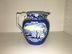 Historical Staffordshire Dark Blue Pitcher Landing Of The Fathers Pilgrims 1825