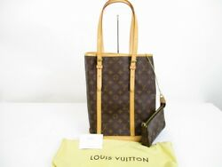 Auth LOUIS VUITTON Monogram Leather Brown Tote Bag Bucket GM wPouch #6424