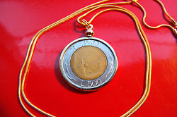 Italy 500 Lire Classic Coin Pendant On An 18 18k Gold Filled Round Snake Chain
