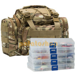 Fishing Tackle Bag 60 Fishing Lures Kit 5 Tackle Boxes Spinner Spoons Salmon