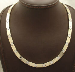 All Shiny Two-tone Screw Design Chain Necklace Real Solid 14k Yellow White Gold