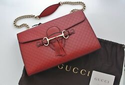 Authentic New GUCCI Emily Dark Red Guccissima Leather w Chain Shoulder Strap