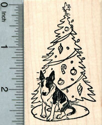 Christmas English Bull Terrier Rubber Stamp Brindle and White J33402 WM