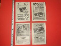 Je465 Vintage Lot Of 4 Ads Sapolio Cleaner Canthrox Soap Shampoo Advertising