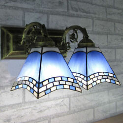 Handcrafted Wall Light Fixture Style Stained Glass 2-light Wall Sconce