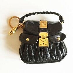 NEW MIU MIU LEATHER BLACK BAG KEY FAUB WITH GOLD DETAILS AND DESIGNER BOX