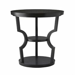 26 Round Accent Table Contemporary Oak Glass Brass Ebony Clear Antique Black Go