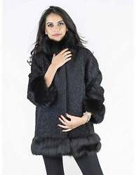 Fur coat black persian wristlet 46 neck fox wrist fox Pelz pelliccia persiano Пе