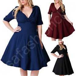 Womens Plus Size Half Sleeves V Neck Evening Cocktail Party Wedding Formal Dress $22.99