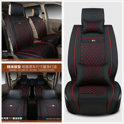 Luxury Edition 7-Seats Car Seat Cover Set Wearproof PU Leather Cushion w Pillow
