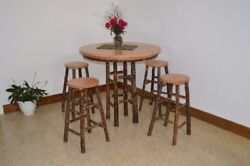 Aandl Furniture Co. Amish-made Hickory 5-piece Dining Sets - Bar Table With Stools