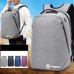 Business WomenMen Canvas School Backpack USB Charge Laptop Travel Rucksack Bags