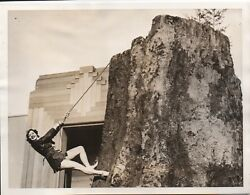 Large 1939 Ggie World's Fair Photo Of Female Climber Redwood Empire Building