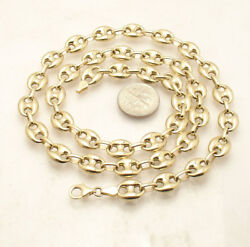 9mm Puffed Mariner Anchor Link Chain Necklace Real 14k Yellow Gold