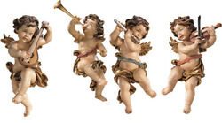 Angels Players for Wall, 4 Palying Puttoes - Made in Italy  Wood-Carved