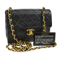 Auth CHANEL Quilted CC Single Chain Shoulder Bag Black Leather VTG GHW AK13379