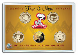 Peanuts Then And Now 24k Gold Plated Us State Quarter 5-coin Set 2-sided Must See